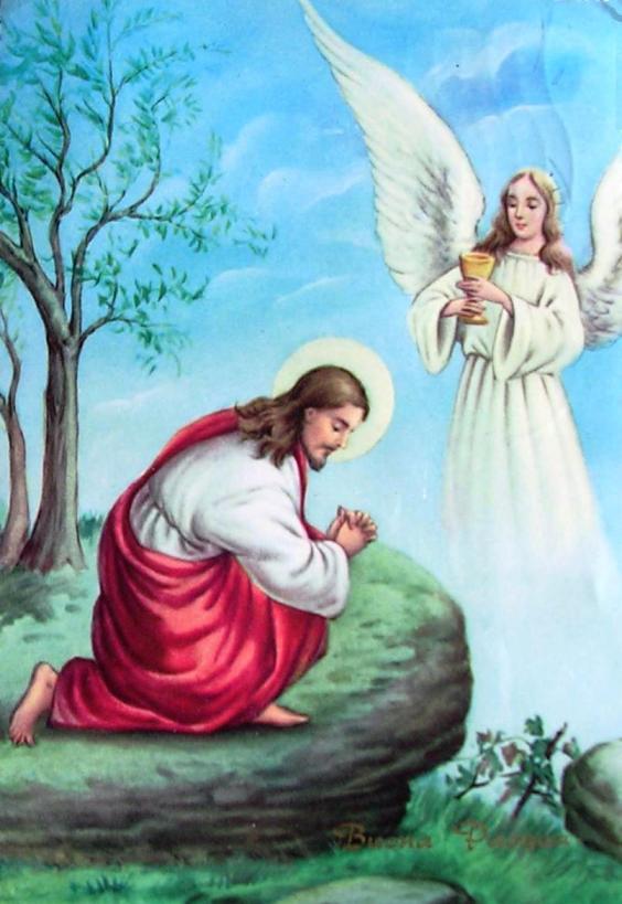 UN ANGELO PORGE IL CALICE A GESU' NELL'ORTO DEGLI ULIVI